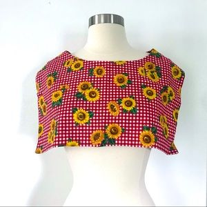 Vintage 80's sunflowers red gingham scarf collar